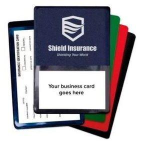 Foil-Stamped Vinyl Insurance Card Holder w/Front Business Card Pocket